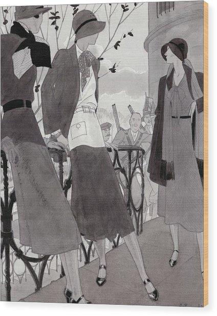 Illustration Of Three Women Wearing Stylish Suits Wood Print