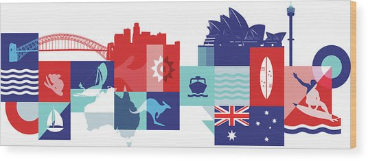 Illustration Of Tourist Attractions In Australia Wood Print by Fanatic Studio / Science Photo Library