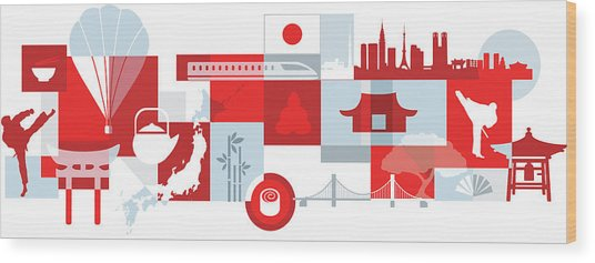 Illustration Of Tourist Attractions In Japan Wood Print