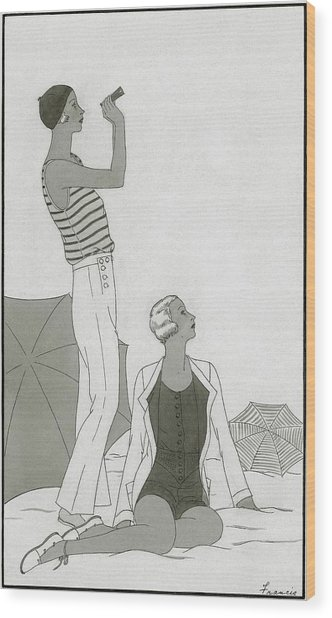 Illustration Of Two Women At A Beach Wood Print