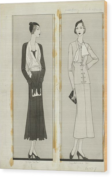 Illustration Of Two Women In Elegant Fashion Wood Print by Douglas Pollard