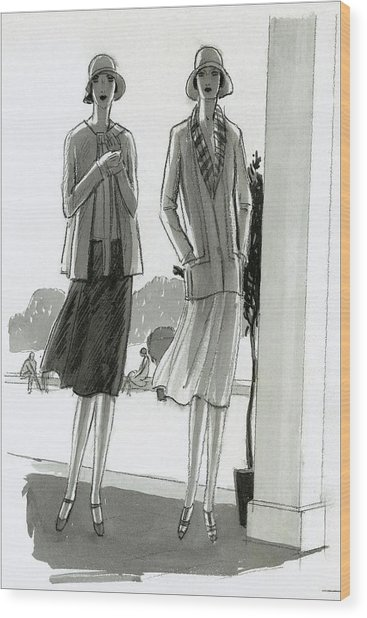 Illustration Of Two Women Standing In A Shadow Wood Print by Porter Woodruff