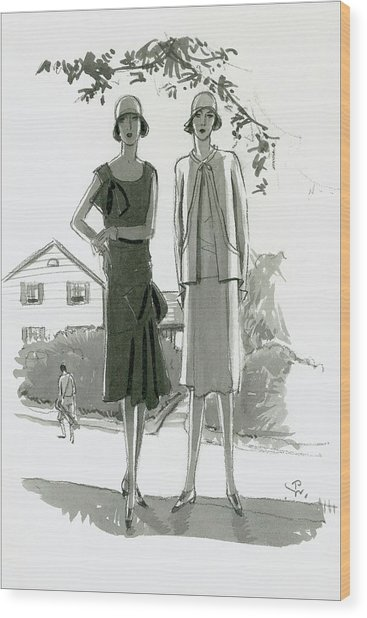 Illustration Of Two Women Standing In Shadow Wood Print by Porter Woodruff