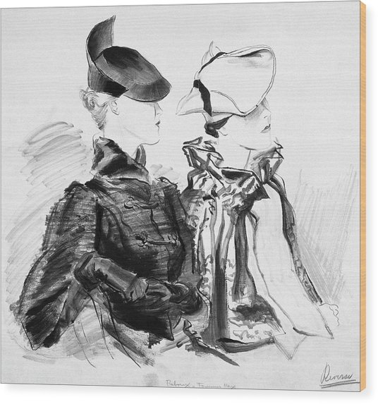Illustration Of Two Women Wearing Berets And Capes Wood Print by Rene Bouet-Willaumez