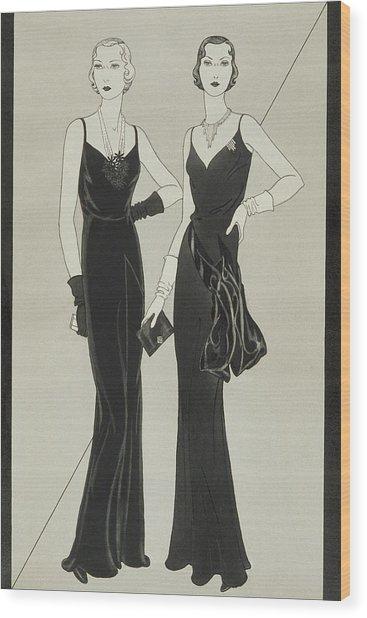 Illustration Of Two Women Wearing Mainbocher Wood Print by Douglas Pollard