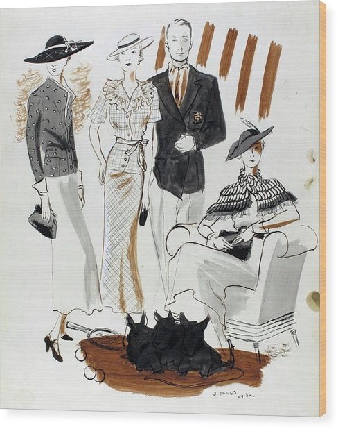 Illustration Of Women And A Man In Country Club Wood Print by Jean Pages