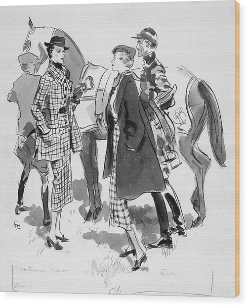 Illustration Of Women Standing In Front Of Racing Wood Print by Francis Marshall
