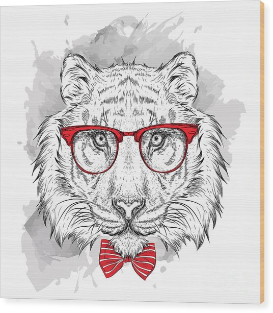 Image Portrait Tiger In The Cravat And Wood Print