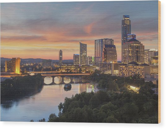 The Austin Skyline On A Summer Evening 1 Wood Print