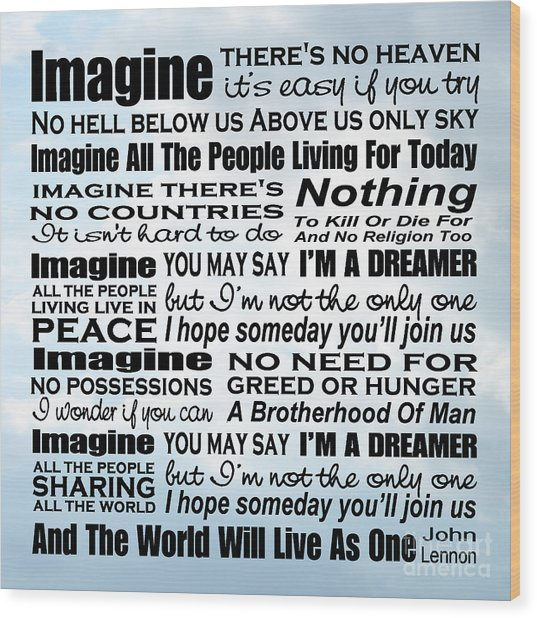 Imagine Song Lyrics - Sky Wood Print