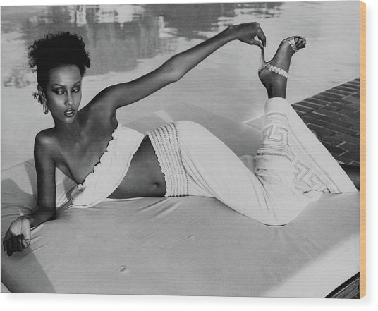 Iman Wearing A Yves Saint Laurent Skirt Wood Print