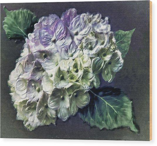 Impasto Hydrangea Wood Print by Jill Balsam