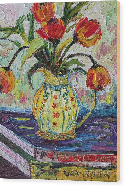 Impressionist Tulips In French Pottery Wood Print