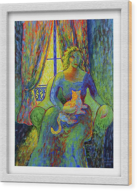 Impressionist Woman And Cat Wood Print by Eve Riser Roberts