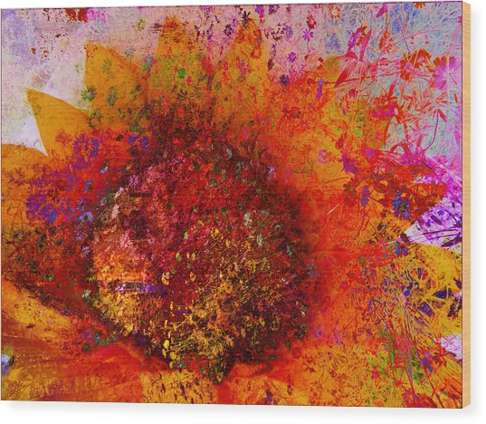 Impressionistic Colorful Flower  Wood Print