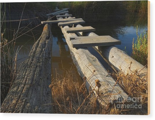 Improvised Wooden Bridge Wood Print