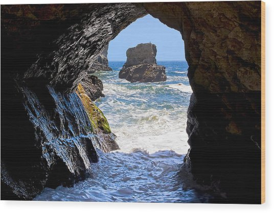 In A Cave By The Sea - Northern Caifornia Wood Print