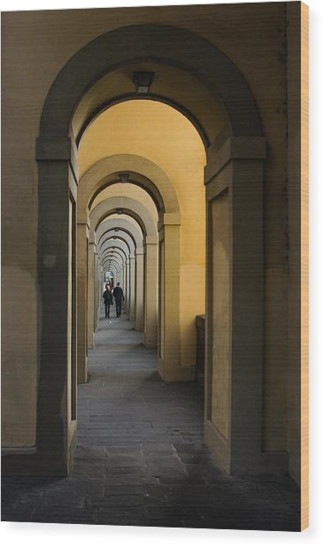 In A Distance - Vasari Corridor In Florence Italy  Wood Print