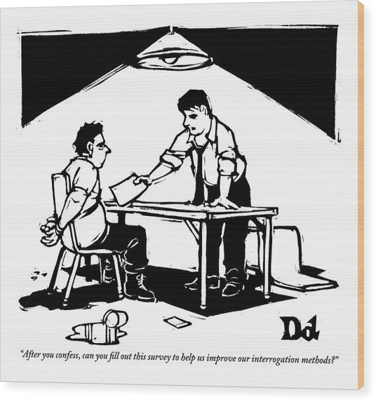 In A Stereotypical Interrogation Room Wood Print