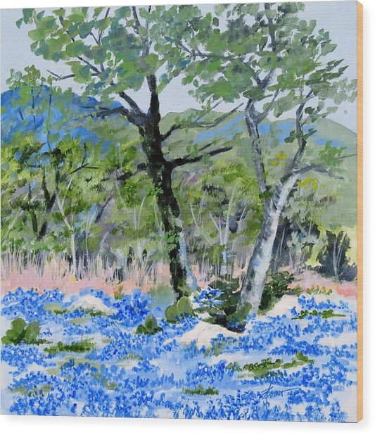 In April-texas Bluebonnets Wood Print