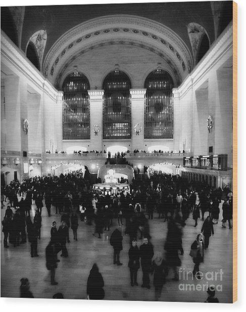 In Awe At Grand Central Wood Print