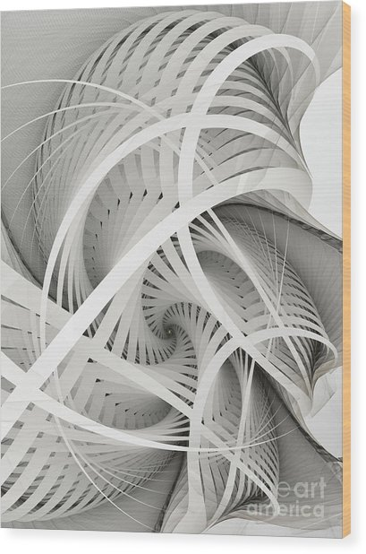 In Betweens-white Fractal Spiral Wood Print