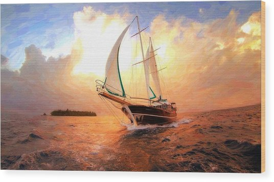 In Full Sail - Oil Painting Edition Wood Print