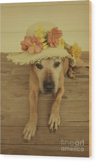 In Her Easter Bonnet Wood Print
