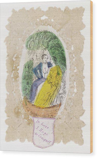 'in Love I Hope To Conquer' A Couple Wood Print by Mary Evans Picture Library