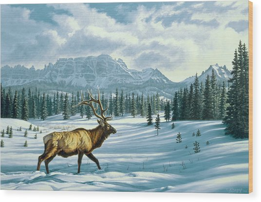 In The Absarokas - Elk Wood Print