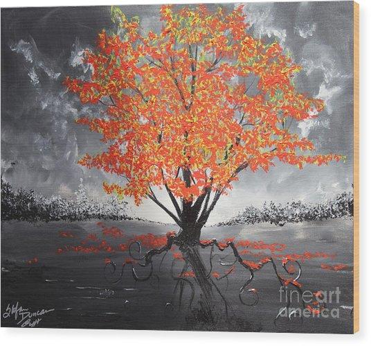 Blaze In The Twilight Wood Print