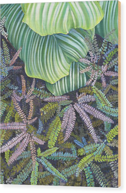 In The Conservatory - 4th Center - Green Wood Print
