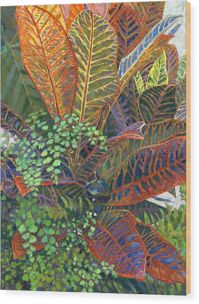 In The Conservatory - 2nd Center - Orange Wood Print