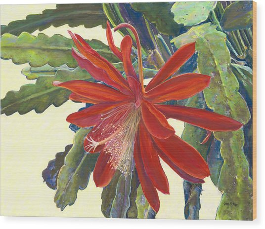 In The Conservatory - 1st Center - Red Wood Print