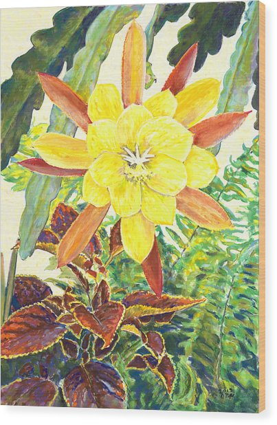 In The Conservatory - 3rd Center - Yellow Wood Print