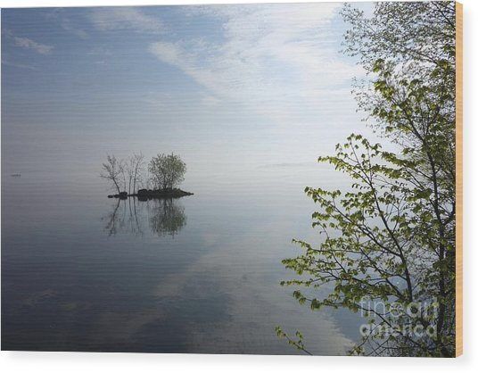 In The Distance On Mille Lacs Lake In Garrison Minnesota Wood Print