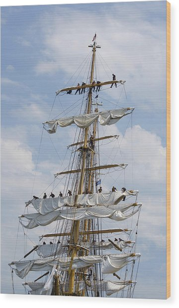 In The Eagle's Rigging Opsail 2012 Wood Print