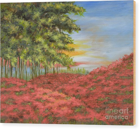 In The Field Of Poppies Wood Print by Vic  Mastis
