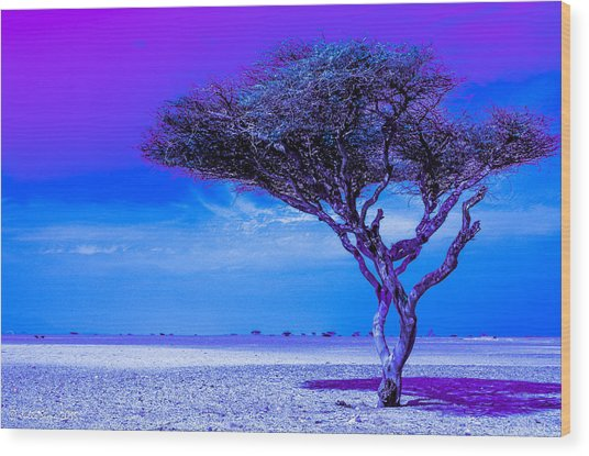 In The Middle Of Nowhere Under A Purple Sky Wood Print