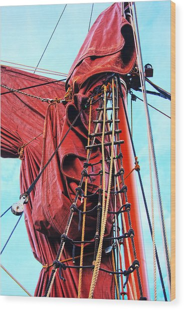 In The Rigging Wood Print
