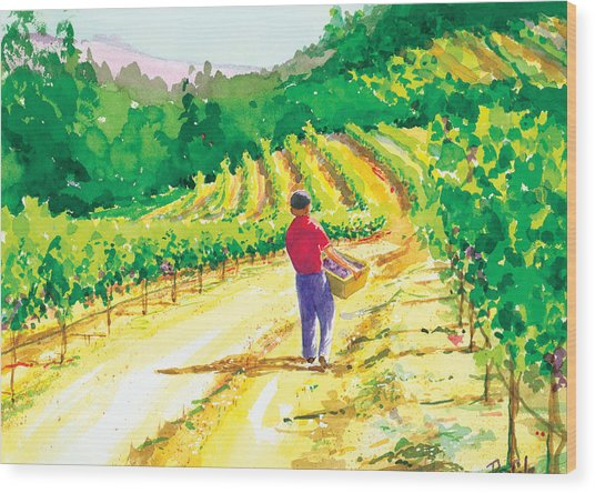 In The Vineyard Wood Print by Ray Cole