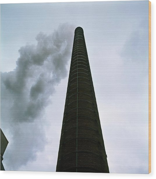 Incinerator Chimney Wood Print by Robert Brook/science Photo Library