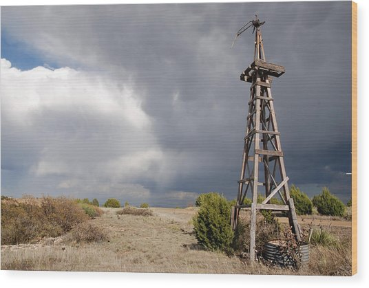 Incoming Storm On The High Plains Horizontal Wood Print