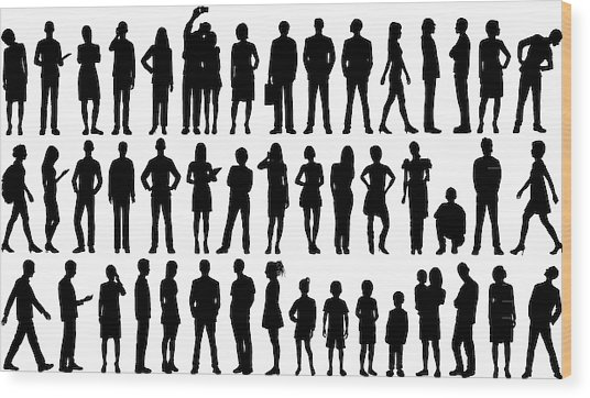 Incredibly Detailed People Silhouettes Wood Print by Leontura