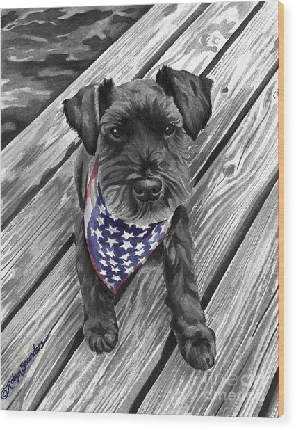 Watercolor Schnauzer Black Dog Wood Print