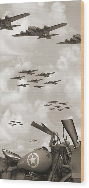 Indian 841 And The B-17 Panoramic Sepia Wood Print
