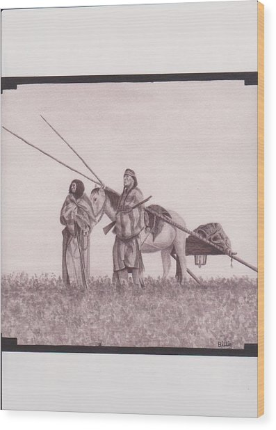 Indian Blackfoot Travis Wood Print by Billie Bowles