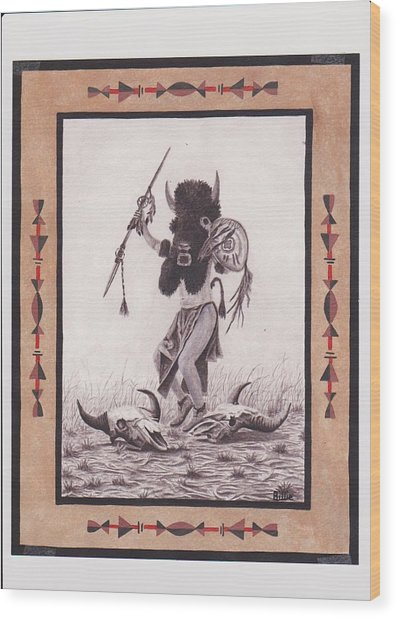 Indian Buffalo Dancer Wood Print by Billie Bowles