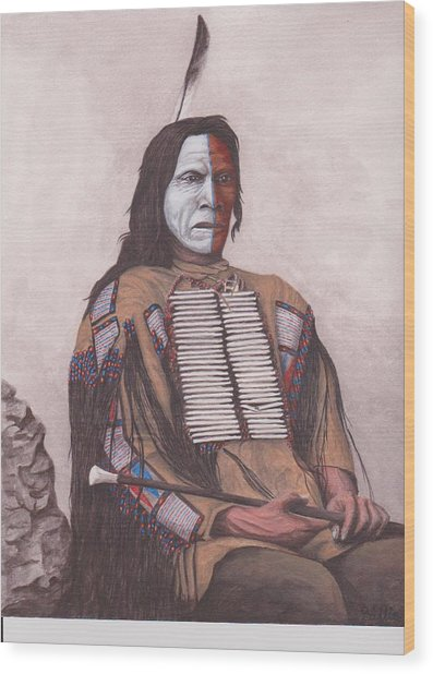 Indian Chief Red Cloud Wood Print by Billie Bowles