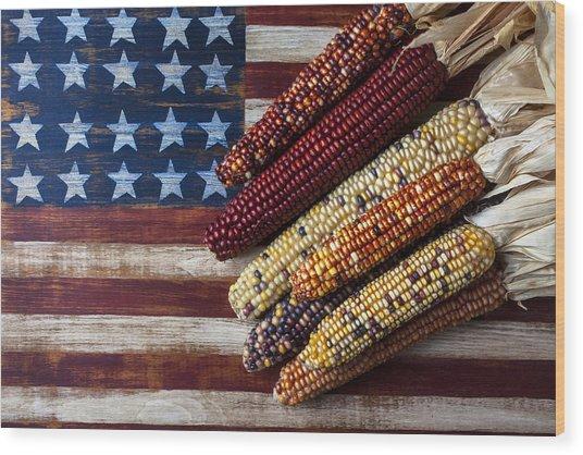 Indian Corn On American Flag Wood Print